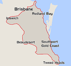 map showing Brisbane and Gold Coast